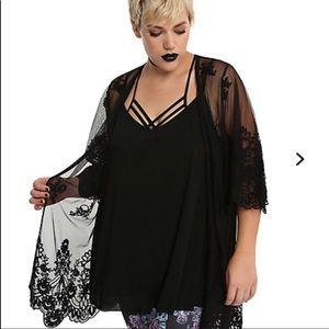 MWT Hot Topic Black Skull Kimono Plus Size